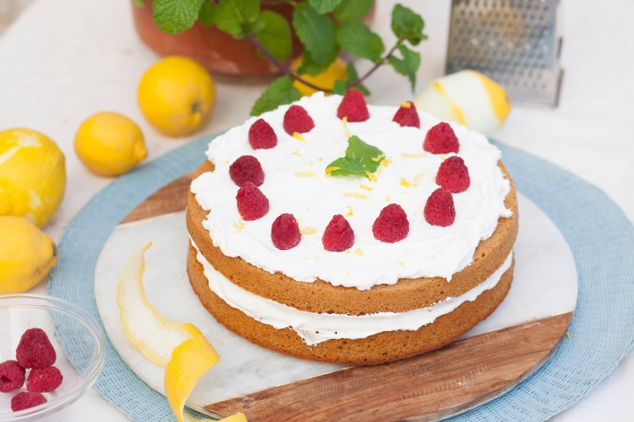 Pastel de harina de arroz de limón y nata (sin gluten)