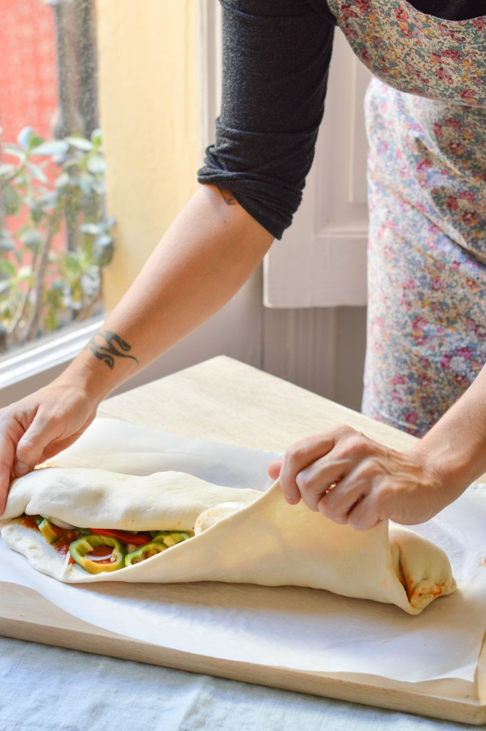 Preparación - Pizza Stromboli